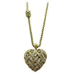 1960s Chantecler Diamond and Gold Heart Pendant Necklace