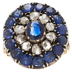 Antique Rose-Cut Diamond and Sapphire Ring