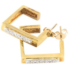 Square Design Hoop Diamond Earrings