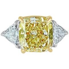Diamond Engagement Ring, 8.01 Carat Fancy Yellow Diamond