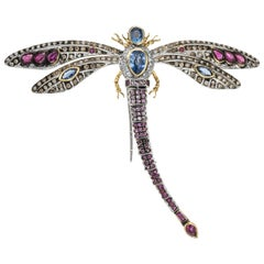 18 Karat Diamond Ruby Sapphire Dragonfly Brooch