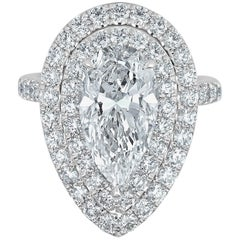 Unique Ring Set with Pear Shaped Diamond 3.01 Carat F Color Internally Flawless