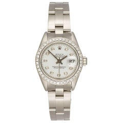 Rolex Ladies Stainless Steel Diamond Dial and Bezel Datejust Wristwatch