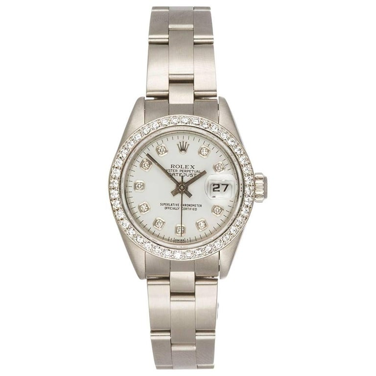 Rolex Ladies Stainless Steel Diamond Dial and Bezel Datejust Wristwatch