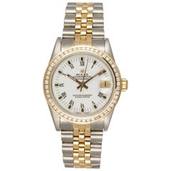 Rolex Ladies Yellow Gold Stainless Steel Diamond Bezel Datejust Wristwatch