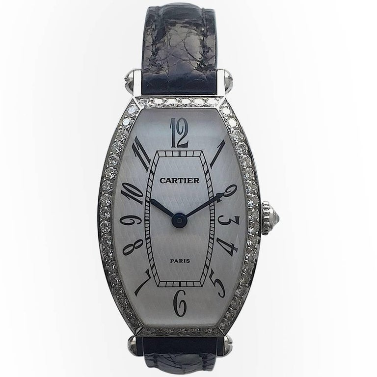 Cartier Paris Ladies White Gold Diamond Manual Wind Wristwatch