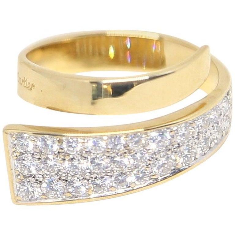 1960s Cartier Dinh Van 18 Karat Modernist Ring with Diamonds