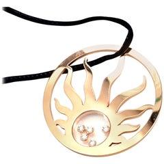 Chopard Happy Sun Diamond Large Rose Gold Pendant Necklace