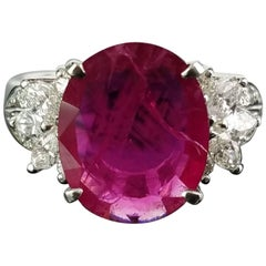 3.12 Carat Burma Ruby and Diamond Cocktail Ring with a Platinum Band