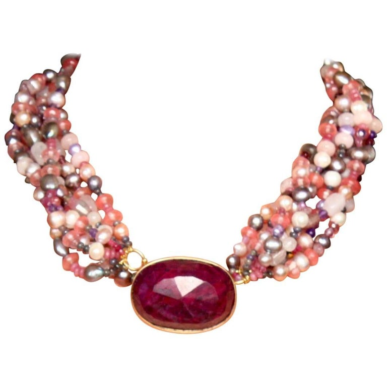 Ruby Gold Rose Quartz Fresh Water Pearls Rodocrosite Necklace