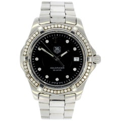 TAG Heuer Stainless Steel Diamond dial and Bezel Aquaracer Wristwatch WAF111D