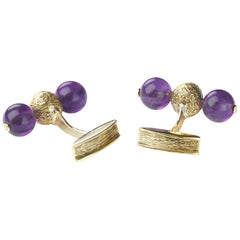 Alan Martin Gard Amethyst and Gold Cufflinks