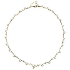 Natural Seawater Pearl and Diamond Gold Necklace