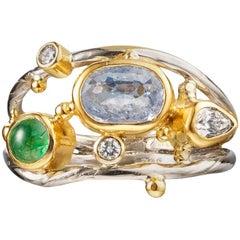 Emerald Sapphire Diamond Gold Ring