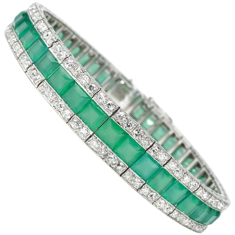 Art Deco Chrysoprase and Diamond Bracelet