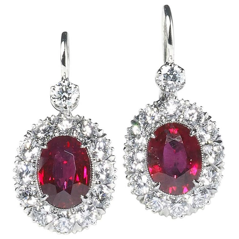 Ruby and Diamond Cluster Earrings 1