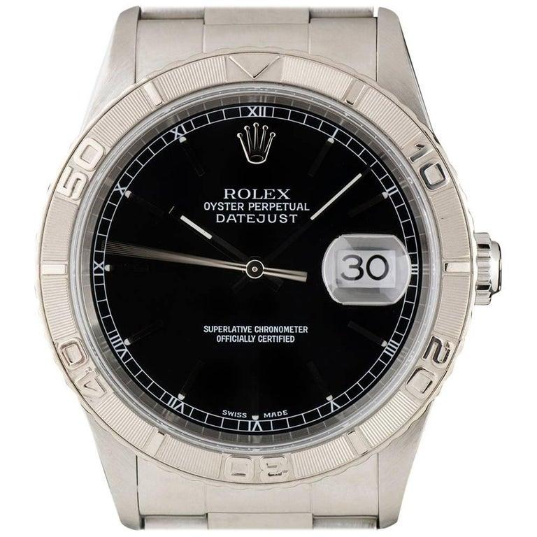 Rolex Datejust Turn-o-graph Gents Steel Black Dial 16264