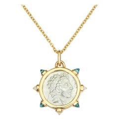 Dubini King of Cappadocia Silver Coin Pendant Topaz Gold Necklace