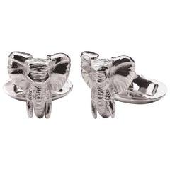 Elephant Head Tusker Sterling Silver Cufflinks