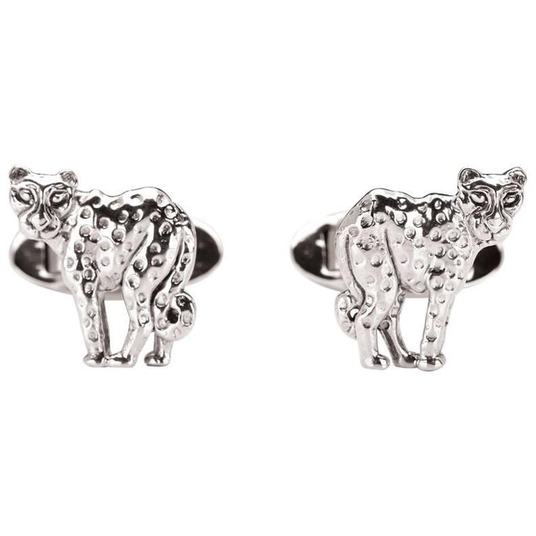 Cheetah Sterling Silver Cufflinks