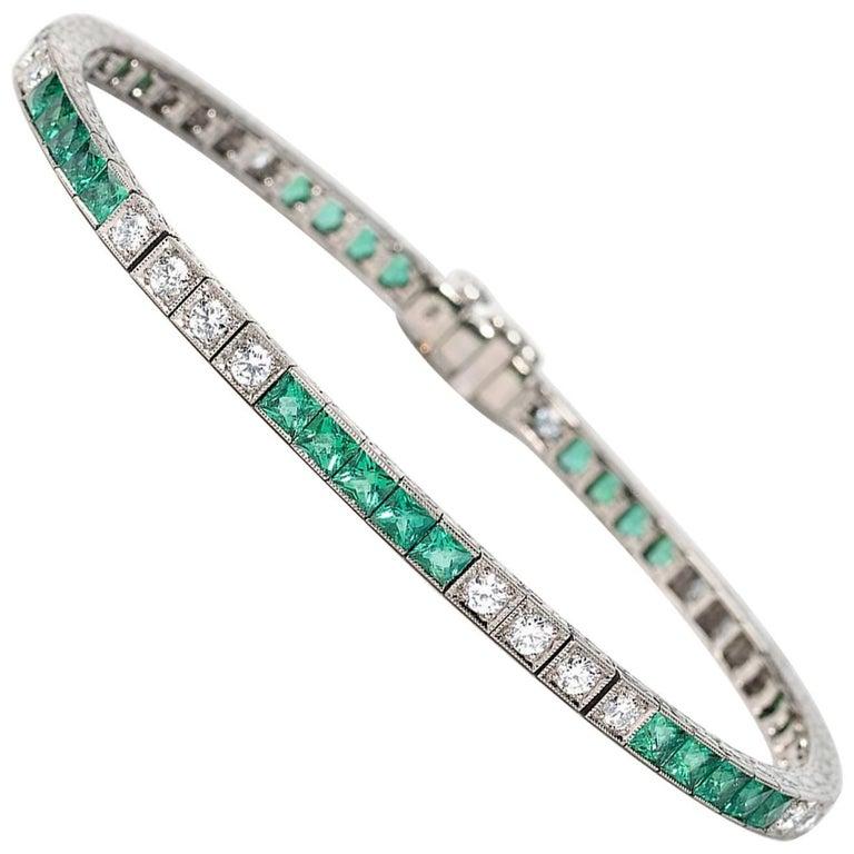Emerald and Diamond Line Bracelet