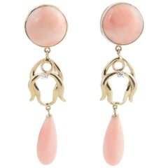Angel Skin Coral Diamond Day and Night Gold Earrings