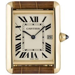 Cartier Tank Louis Gents Gold Silver Roman Dial W1529756 Quartz Wristwatch