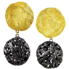 Sterling Silver Yellow Gold Platinum Drop Textured Clip-On Earrings
