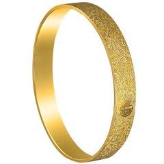 Sterling Silver Gold Textured Gold Bangle Bracelet One of a kind