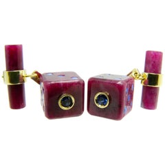 48 Carat Hand Inlaid Natural Ruby Blue Sapphire Hand Enameled Dice Cufflinks