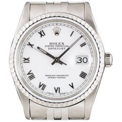 Rolex Datejust Gents Steel White Roman Dial 16220 Automatic Wristwatch