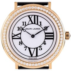 Ralph Lauren Rose Gold Diamond Bezel Dress Watch Ladies White Dial RLR018170