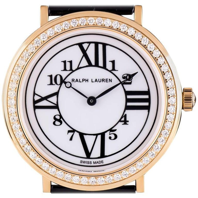 Ralph Lauren Rose Gold Diamond Bezel Dress Watch Ladies White Dial RLR018170