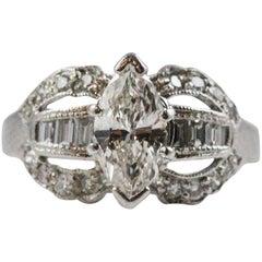 1950s Retro Marquise Cut Diamond Ring