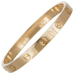 New Style Cartier Love Bangle Bracelet 18 Karat Yellow Gold Box and Papers
