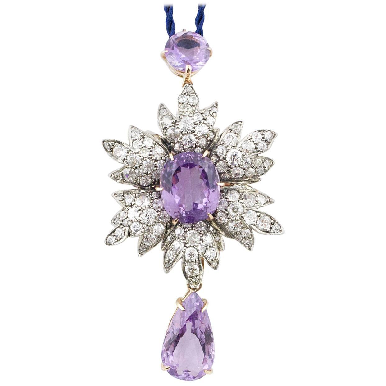 Gold and Silver Diamonds Amethyst Pendant/Necklace