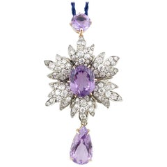 9 Karat Gold and Silver, Carat 8.88 Old Diamonds Amethyst Pendant / Necklace
