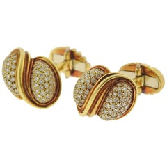 Henry Dunay Diamond Gold Cufflinks
