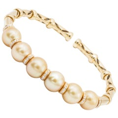 Golden South Sea Pearls and Diamond Accent Bangle