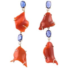 14 Kt White Gold, 14 Kt rose Gold, Coral, Diamonds and Blue Sapphires Earrings
