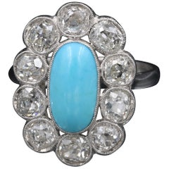Antique Turquoise Cabochon Diamond Ring