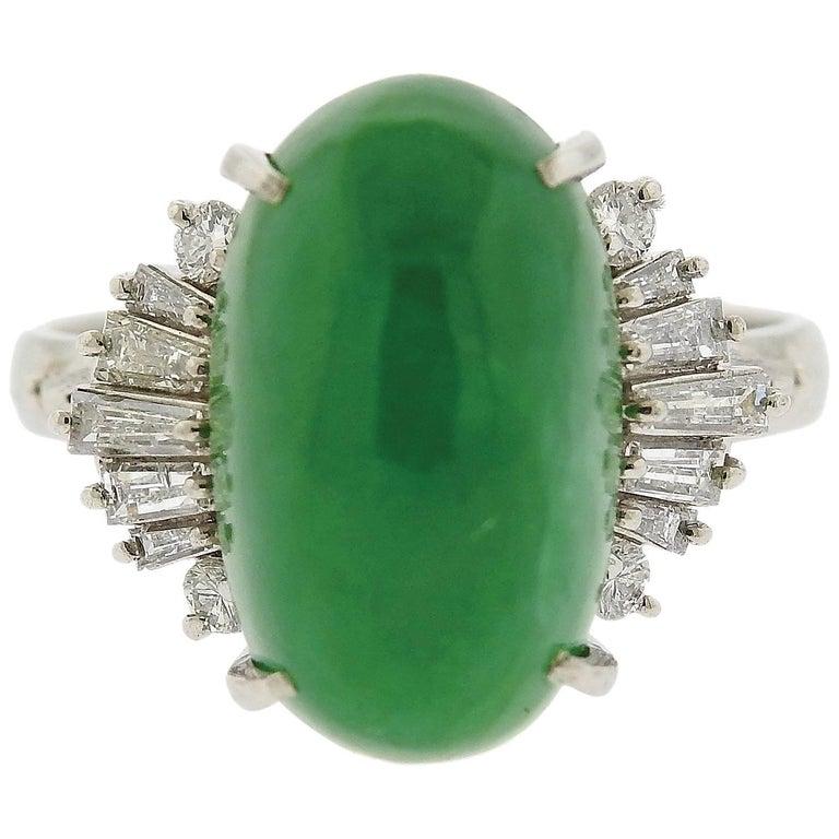 Jade Cabochon Diamond Platinum Ring