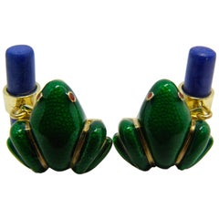 Hand Enameled Frog Shaped Natural Lapis Stick Back Yellow Gold Cufflinks
