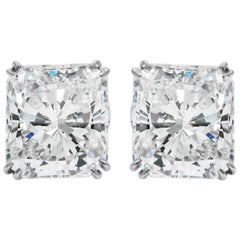 GIA Certified 14.09 Carat Total Radiant Cut Diamond Stud Platinum Earrings