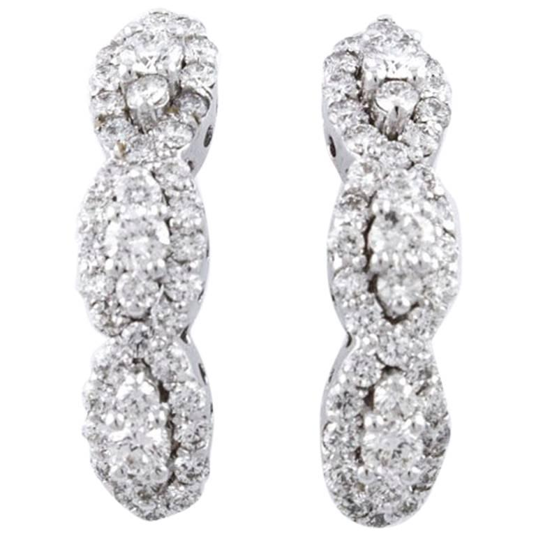 Diamonds  Earrings,18 kt White Gold Stud/Dangle For Sale