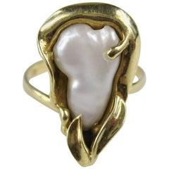 Midcentury Organic Mabe Pearl Gold Ring