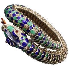 Articulated Gold, Enamel and Diamonds Snake Bracelet