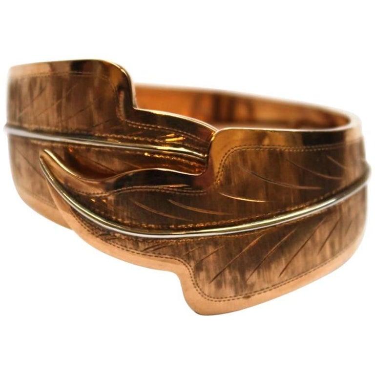1940s 18 Karat Rose Gold Engraved Leaf Cuff