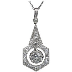 French Platinum, Gold and Diamonds Art Deco Pendant
