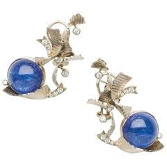 Annabel Eley 30.93 Carat Cabochon Tanzanite Diamond White Gold Earrings